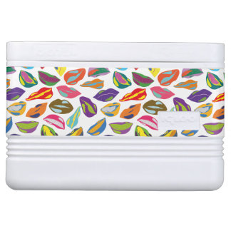 Psycho retro colorful pattern Lips Cooler