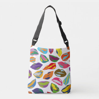Psycho retro colorful pattern Lips Crossbody Bag