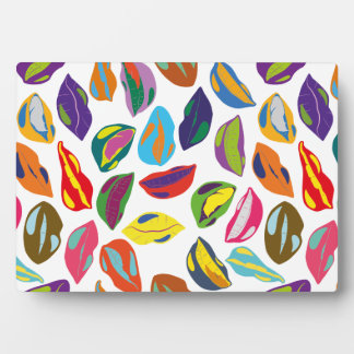 Psycho retro colorful pattern Lips Display Plaque