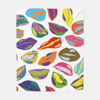 Psycho retro colorful pattern Lips Fleece Blanket
