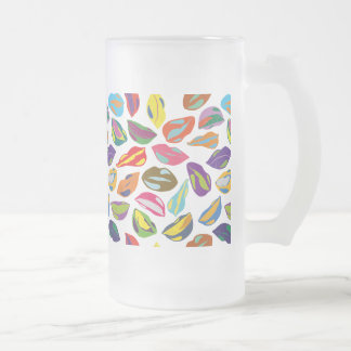 Psycho retro colorful pattern Lips Frosted Glass Beer Mug