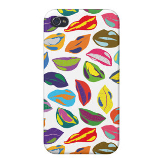 Psycho retro colorful pattern Lips iPhone 4 Cases