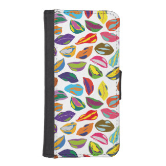 Psycho retro colorful pattern Lips iPhone SE/5/5s Wallet Case
