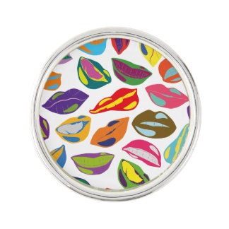 Psycho retro colorful pattern Lips Lapel Pin