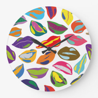 Psycho retro colorful pattern Lips Large Clock