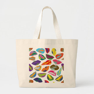 Psycho retro colorful pattern Lips Large Tote Bag