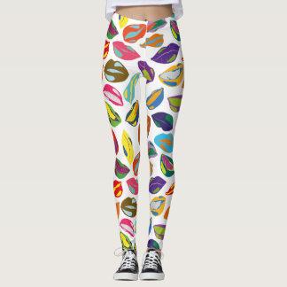 Psycho retro colorful pattern Lips Leggings