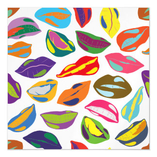 Psycho retro colorful pattern Lips Magnetic Card