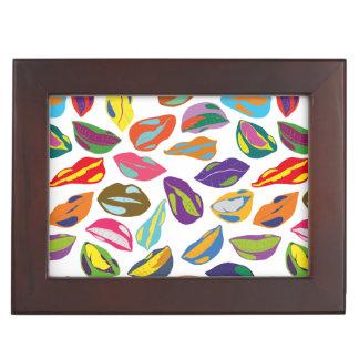 Psycho retro colorful pattern Lips Memory Boxes