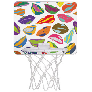Psycho retro colorful pattern Lips Mini Basketball Hoop