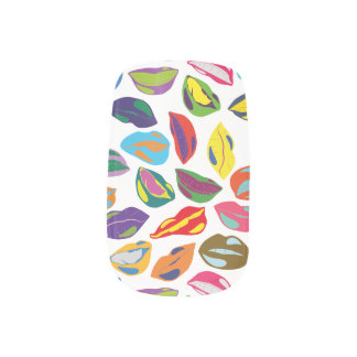 Psycho retro colorful pattern Lips Minx Nail Art