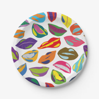Psycho retro colorful pattern Lips Paper Plate