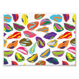 Psycho retro colorful pattern Lips Photo