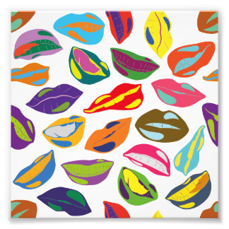 Psycho retro colorful pattern Lips Photographic Print