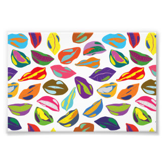 Psycho retro colorful pattern Lips Photographic Print