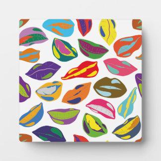 Psycho retro colorful pattern Lips Plaque