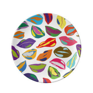 Psycho retro colorful pattern Lips Plate