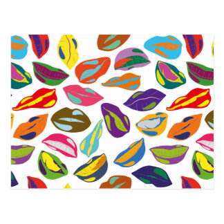 Psycho retro colorful pattern Lips Postcard