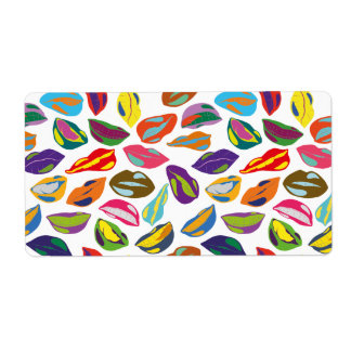 Psycho retro colorful pattern Lips Shipping Label