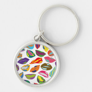 Psycho retro colorful pattern Lips Silver-Colored Round Key Ring