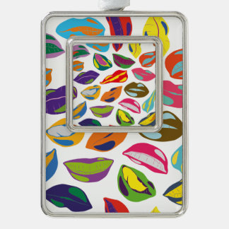 Psycho retro colorful pattern Lips Silver Plated Framed Ornament