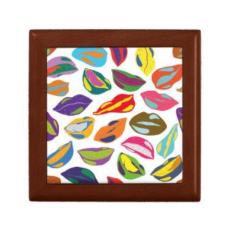 Psycho retro colorful pattern Lips Small Square Gift Box