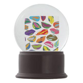 Psycho retro colorful pattern Lips Snow Globe
