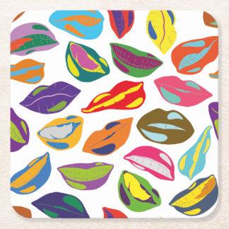 Psycho retro colorful pattern Lips Square Paper Coaster