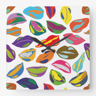 Psycho retro colorful pattern Lips Square Wall Clock