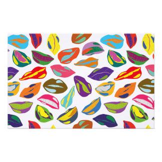 Psycho retro colorful pattern Lips Stationery