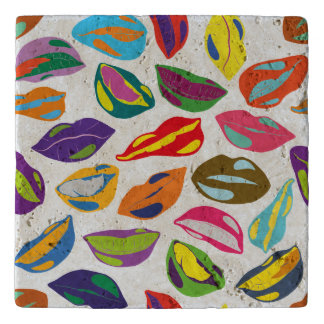Psycho retro colorful pattern Lips Trivet