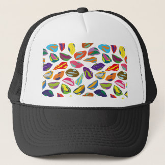 Psycho retro colorful pattern Lips Trucker Hat
