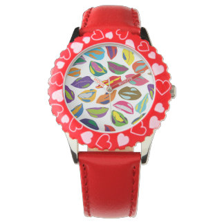 Psycho retro colorful pattern Lips Watch