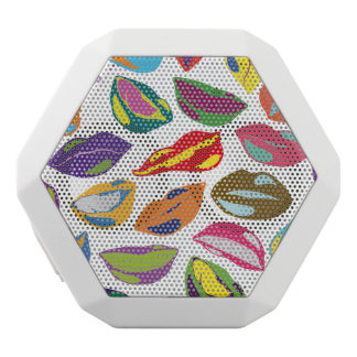 Psycho retro colorful pattern Lips White Bluetooth Speaker
