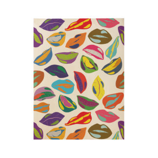 Psycho retro colorful pattern Lips Wood Poster