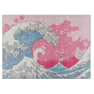 Psychodelic Bubblegum Kunagawa Surfer Cat Cutting Board