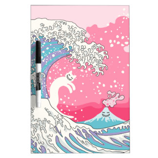 Psychodelic Bubblegum Kunagawa Surfer Cat Dry-Erase Whiteboards