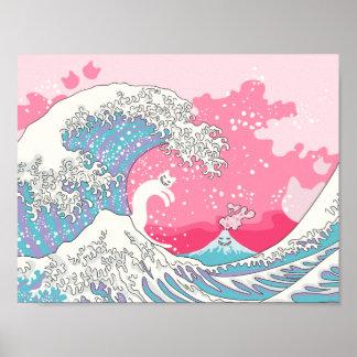 Psychodelic Bubblegum Kunagawa Surfer Cat Poster