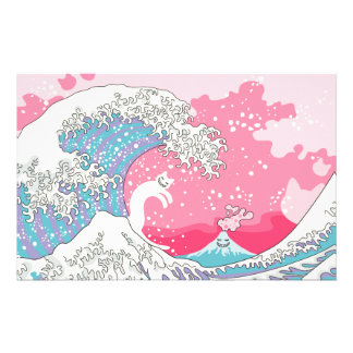 Psychodelic Bubblegum Kunagawa Surfer Cat Stationery