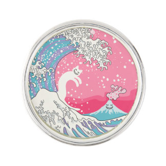 Psychodelic Bubblegum Pink Kunagawa Wave Lapel Pin