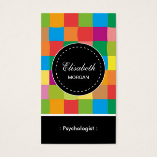 Psychologist- Colorful Sqaure Pattern Business Card