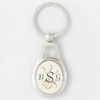 Psychopsis Mendenhall Hildos Orchid Silver-Colored Oval Key Ring