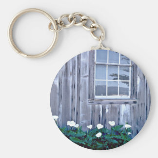 Pt. Lobos State Park - Building With Flowers Pink Key Chain