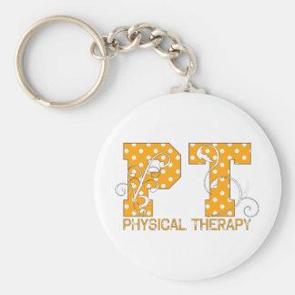 pt orange white polka dots key ring