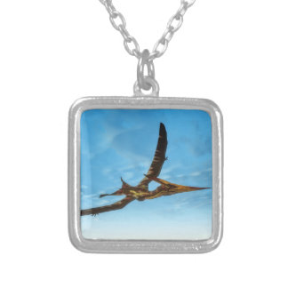 Pteranodon bird flying - 3D render Silver Plated Necklace