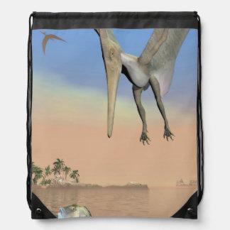 Pteranodon dinosaurs fishing - 3D render Drawstring Bag