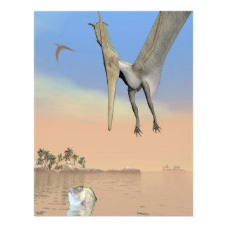 Pteranodon dinosaurs fishing - 3D render Flyer