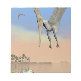 Pteranodon dinosaurs fishing - 3D render Notepad