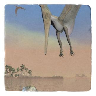 Pteranodon dinosaurs fishing - 3D render Trivet