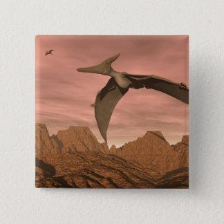 Pteranodon dinosaurs flying - 3D render 15 Cm Square Badge
